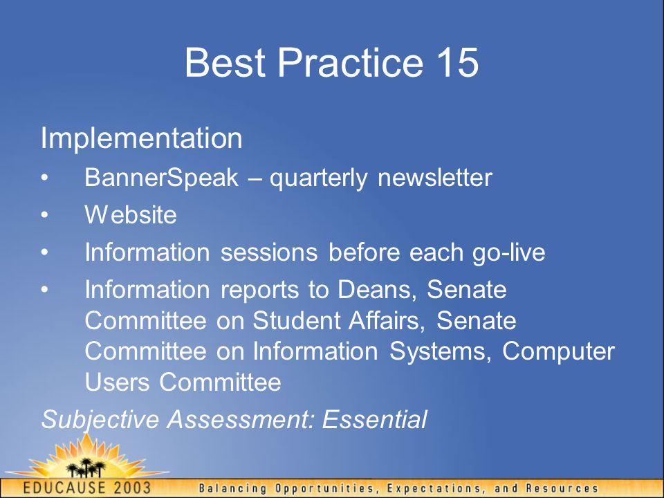 Best Practice 15 Implementation BannerSpeak – quarterly newsletter