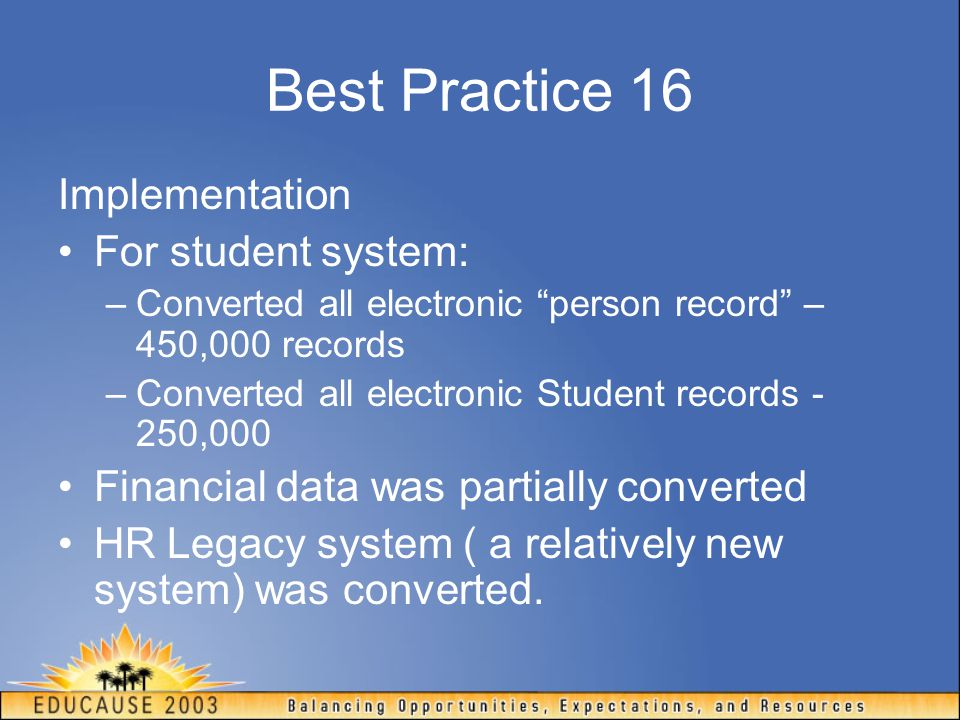 Best Practice 16 Implementation For student system: