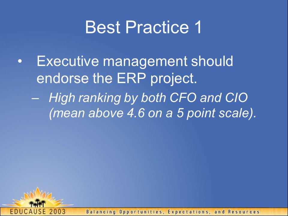Best Practice 1 Executive management should endorse the ERP project.