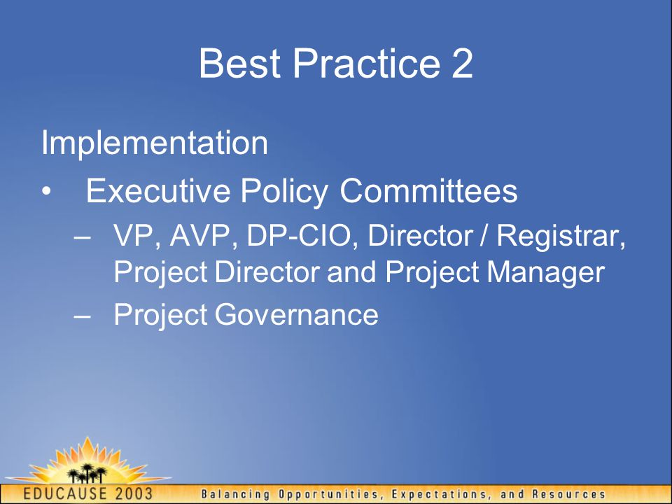 Best Practice 2 Implementation Executive Policy Committees