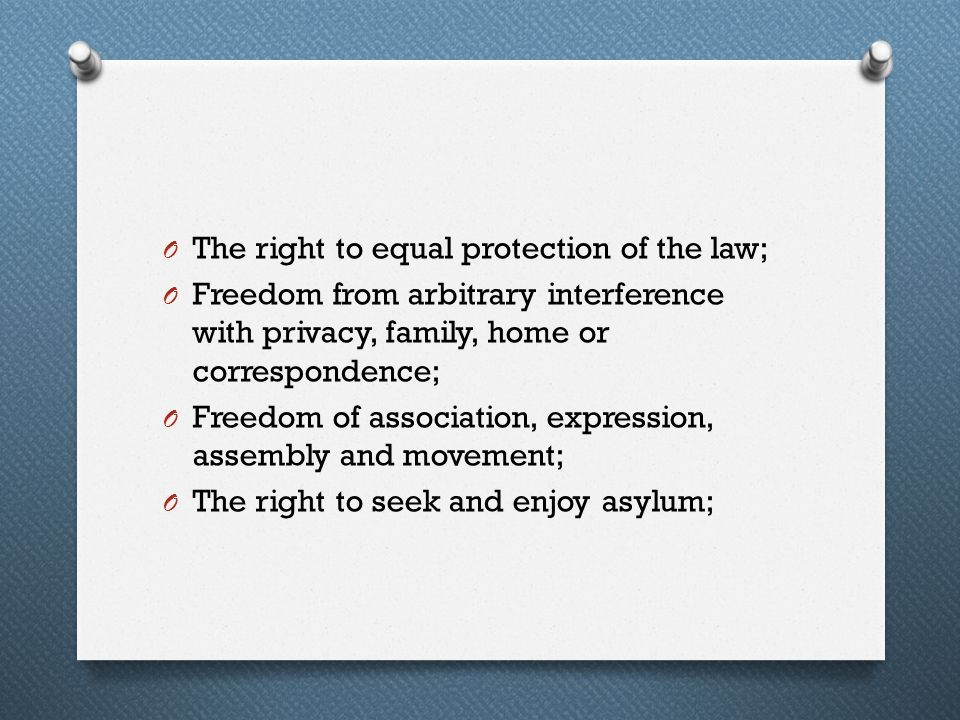 The right to equal protection of the law;