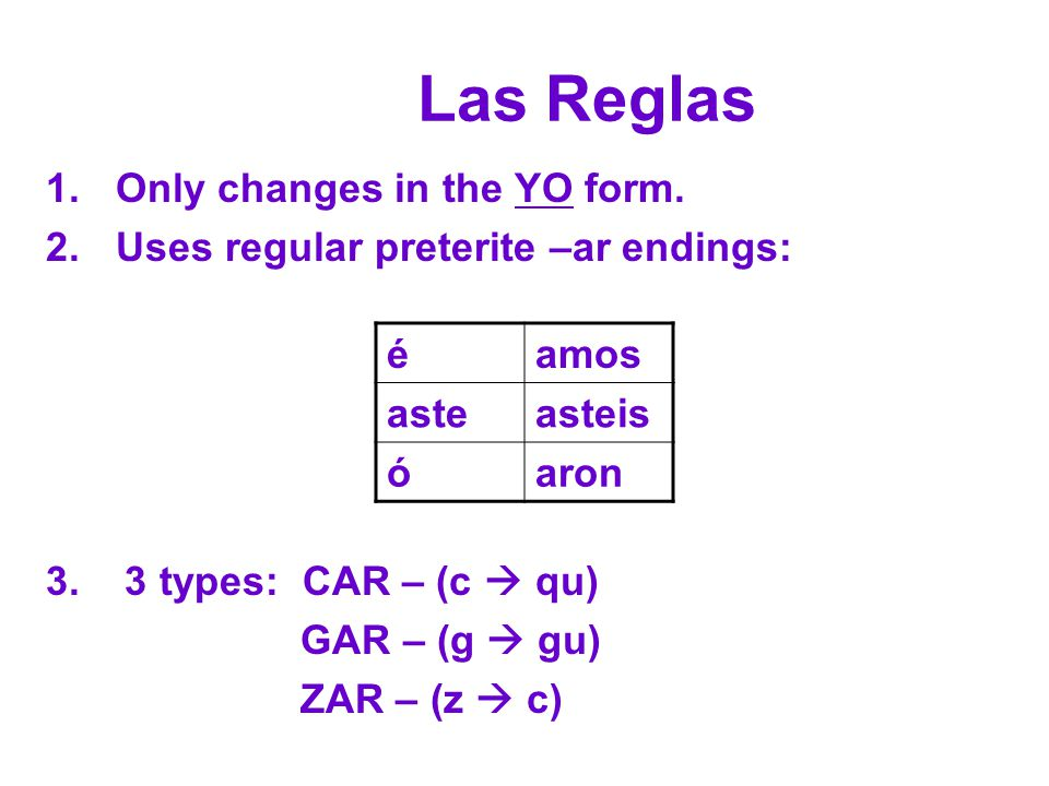 Las Reglas Only changes in the YO form.