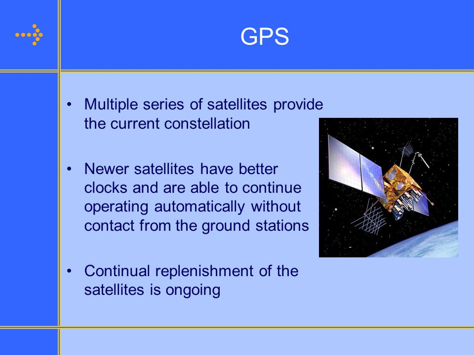 GPS Multiple series of satellites provide the current constellation