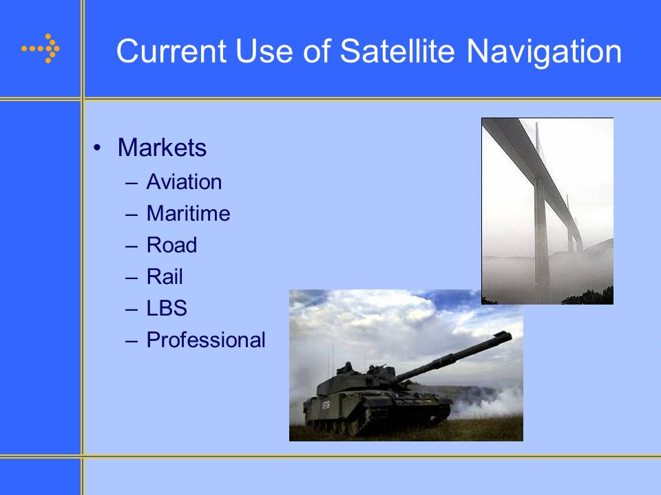 Current Use of Satellite Navigation