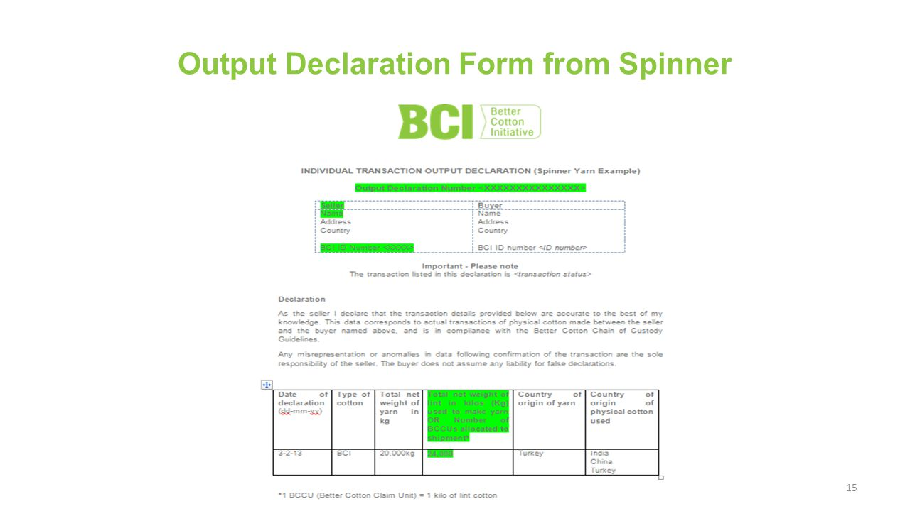 Output Declaration Form from Spinner