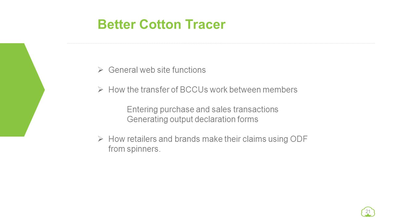 Better Cotton Tracer General web site functions