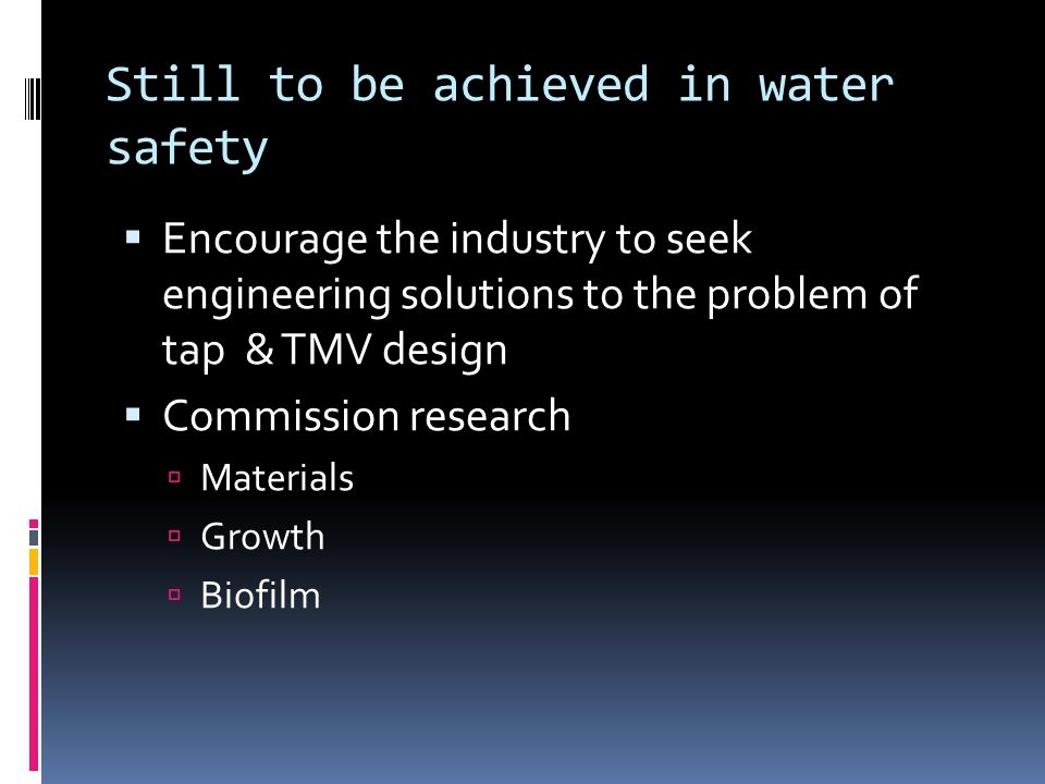 Still to be achieved in water safety
