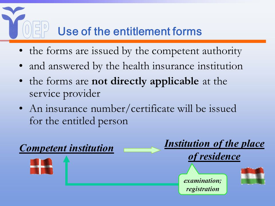 Use of the entitlement forms