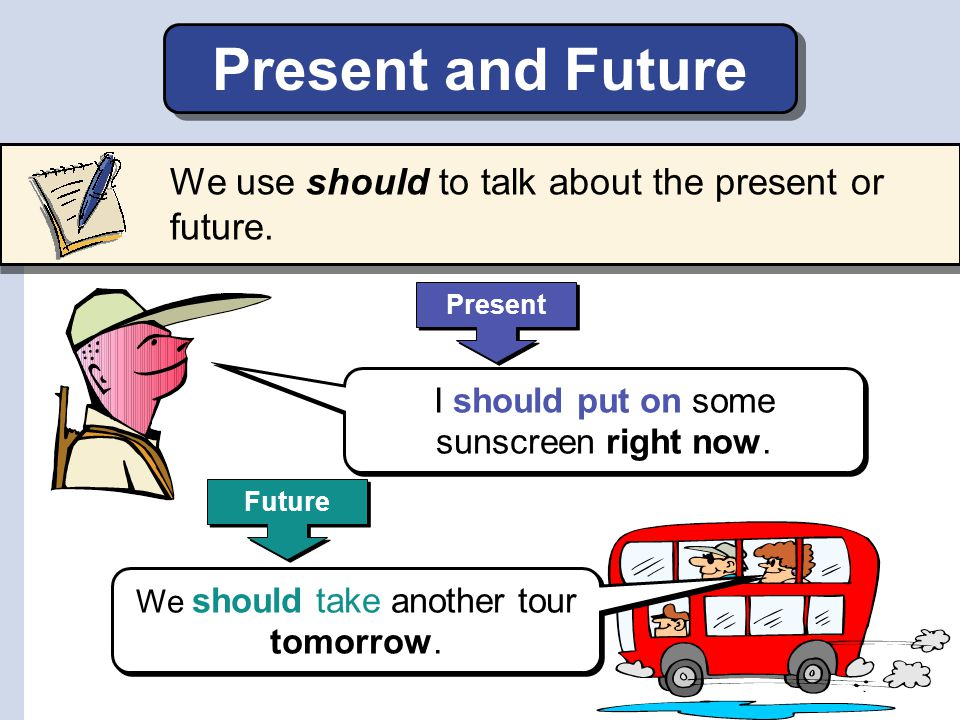Present and Future We use should to talk about the present or future.