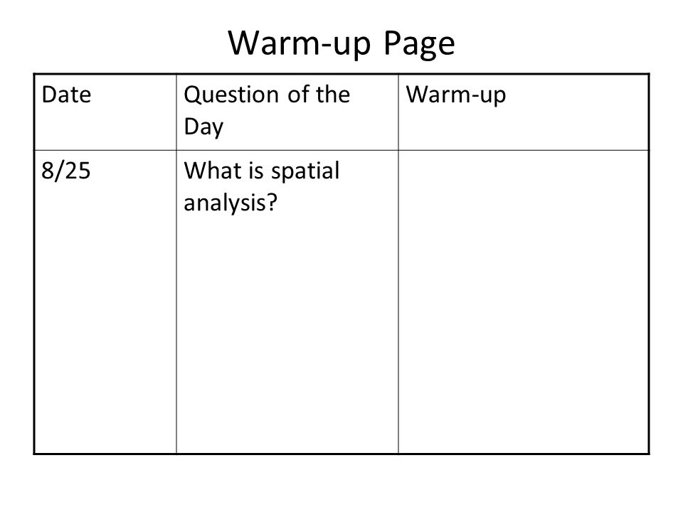 Warm-up Page Date Question of the Day Warm-up 8/25