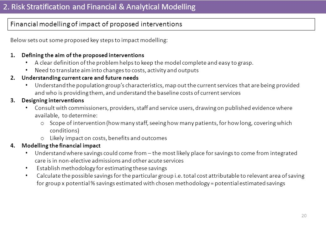 2. Risk Stratification and Financial & Analytical Modelling