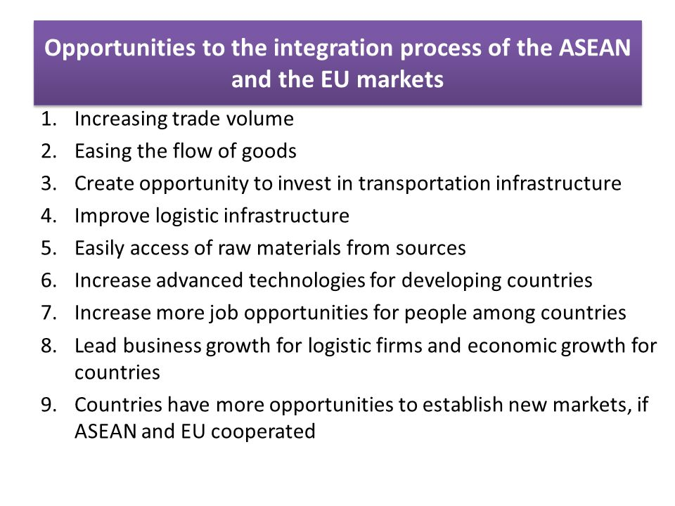 Opportunities to the integration process of the ASEAN and the EU markets