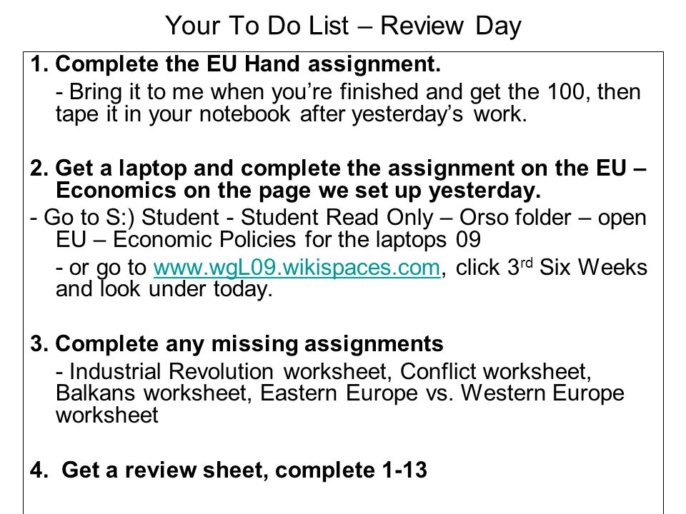 Your To Do List – Review Day