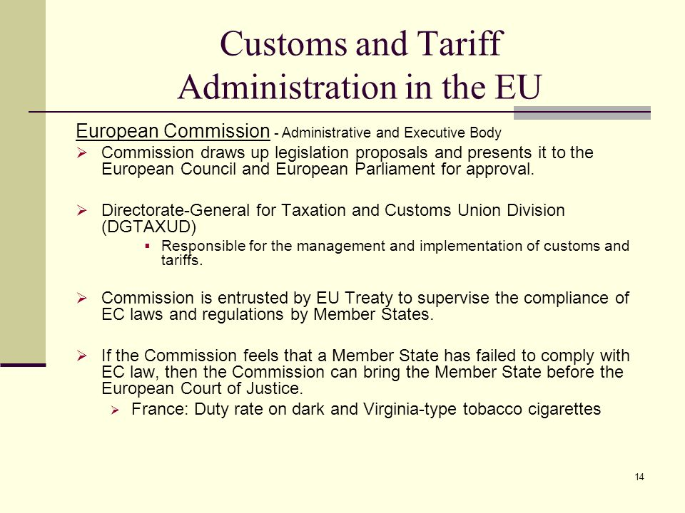 Customs and Tariff Administration in the EU