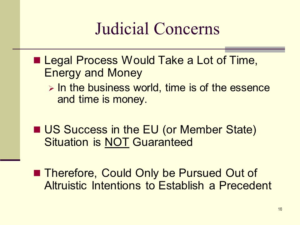 Judicial Concerns Legal Process Would Take a Lot of Time, Energy and Money. In the business world, time is of the essence and time is money.
