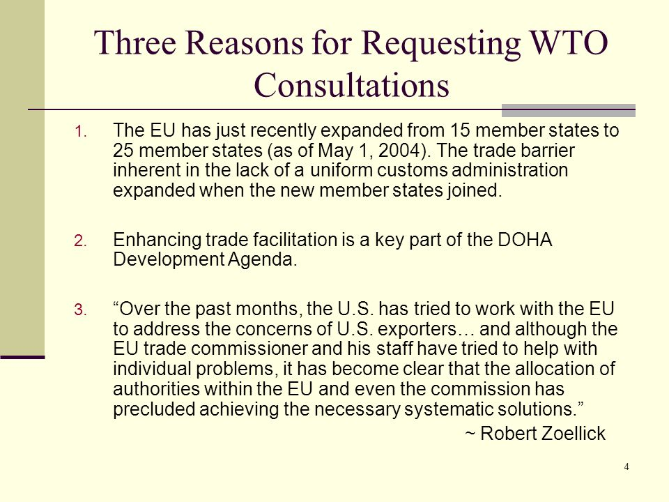 Three Reasons for Requesting WTO Consultations