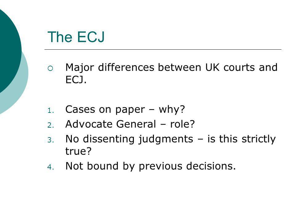 The ECJ Major differences between UK courts and ECJ.