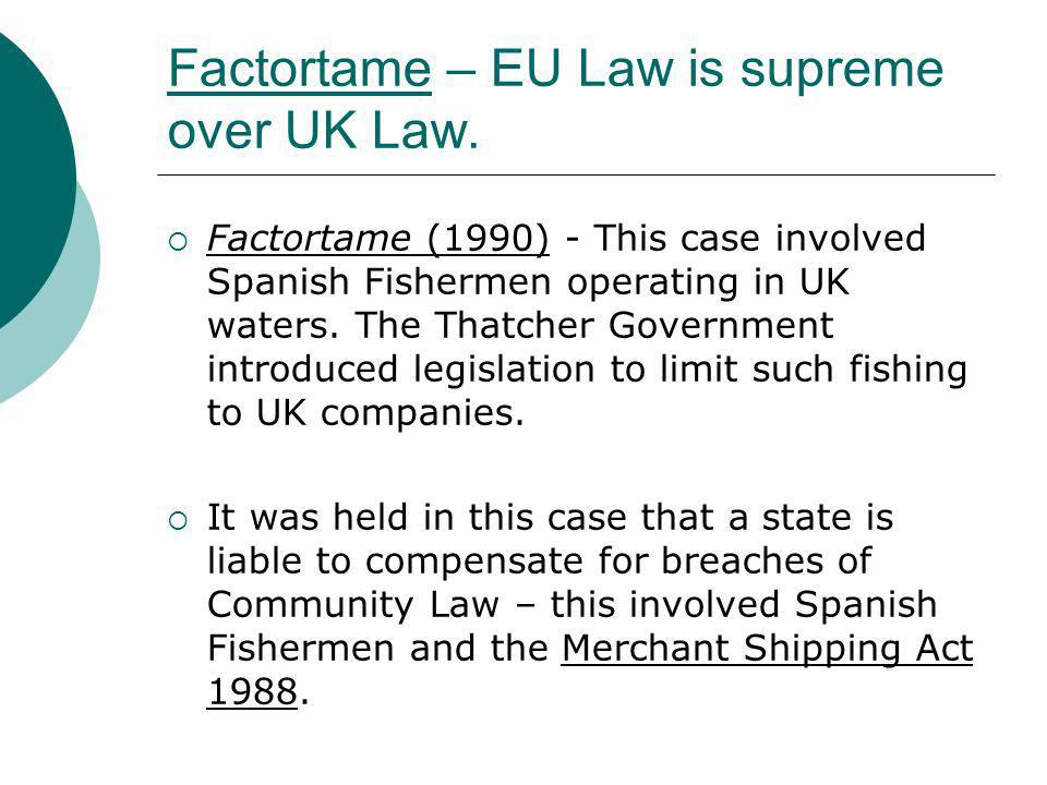 Factortame – EU Law is supreme over UK Law.