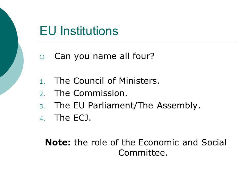 Note: the role of the Economic and Social Committee.