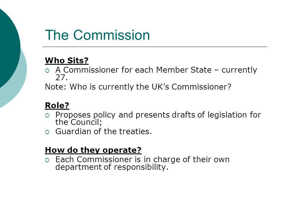 The Commission Who Sits