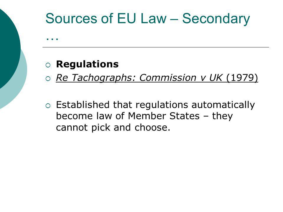 Sources of EU Law – Secondary …