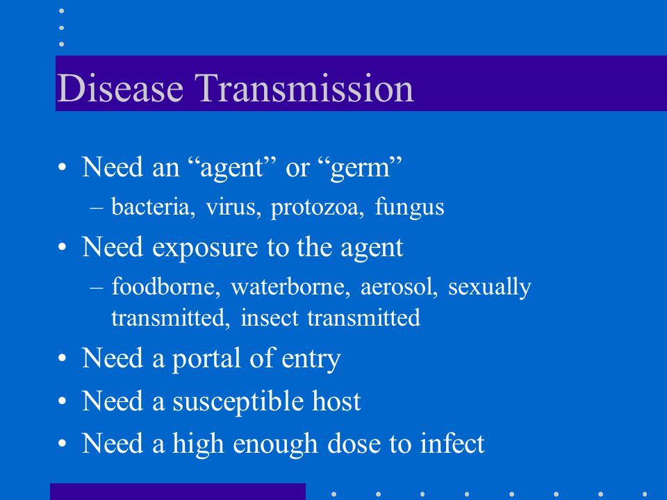 Disease Transmission Need an agent or germ