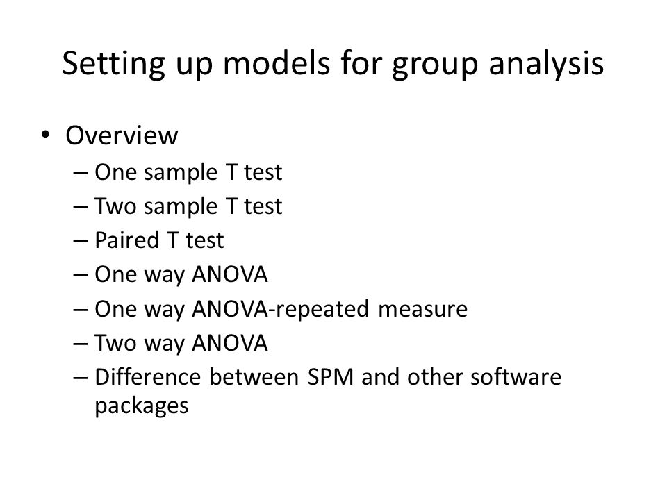 Setting up models for group analysis