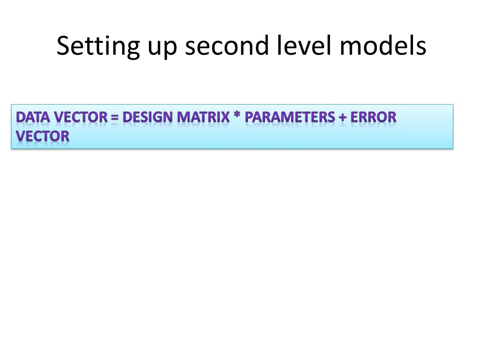 Setting up second level models