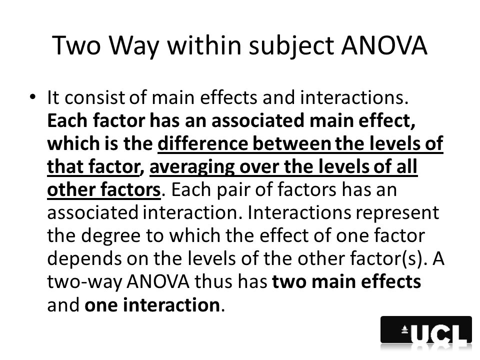 Two Way within subject ANOVA