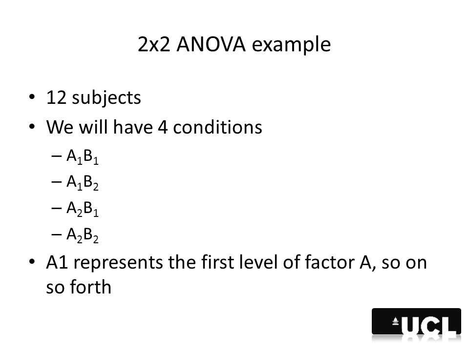 2x2 ANOVA example 12 subjects We will have 4 conditions