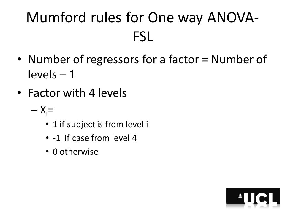 Mumford rules for One way ANOVA-FSL