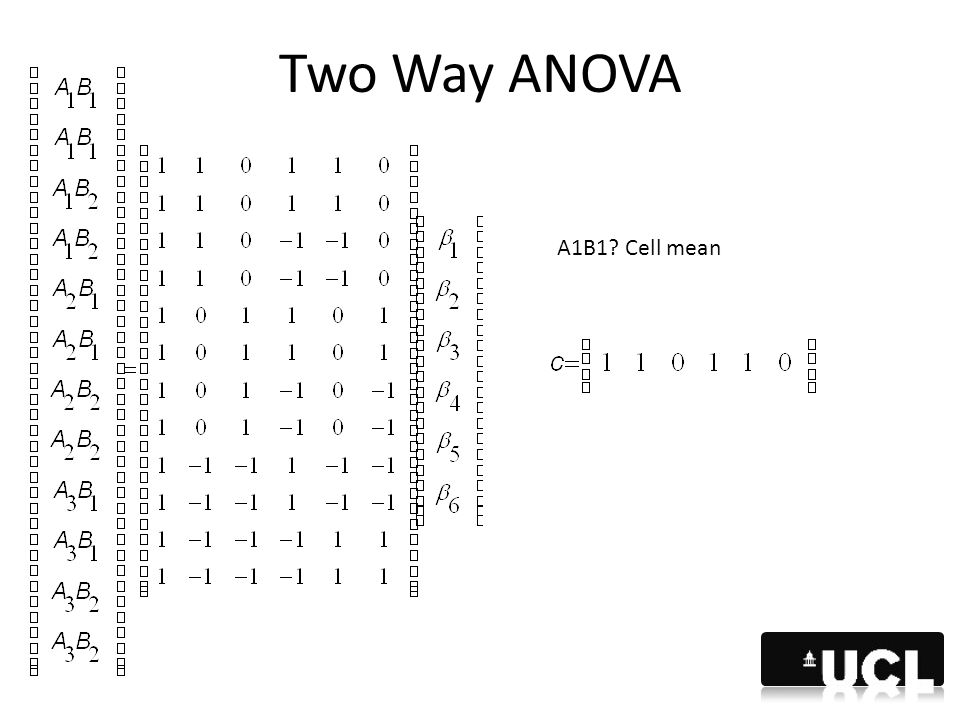 Two Way ANOVA A1B1 Cell mean