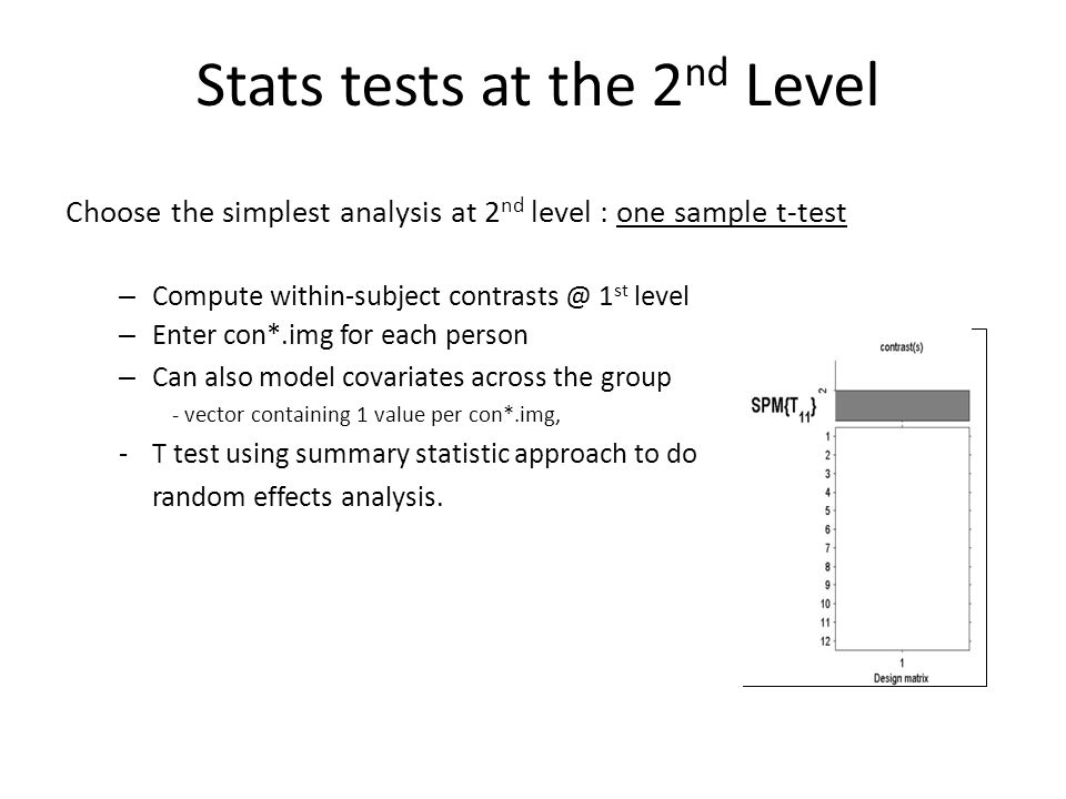 Stats tests at the 2nd Level