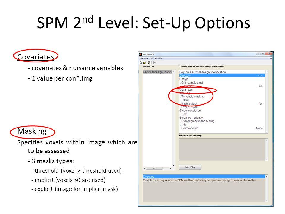 SPM 2nd Level: Set-Up Options