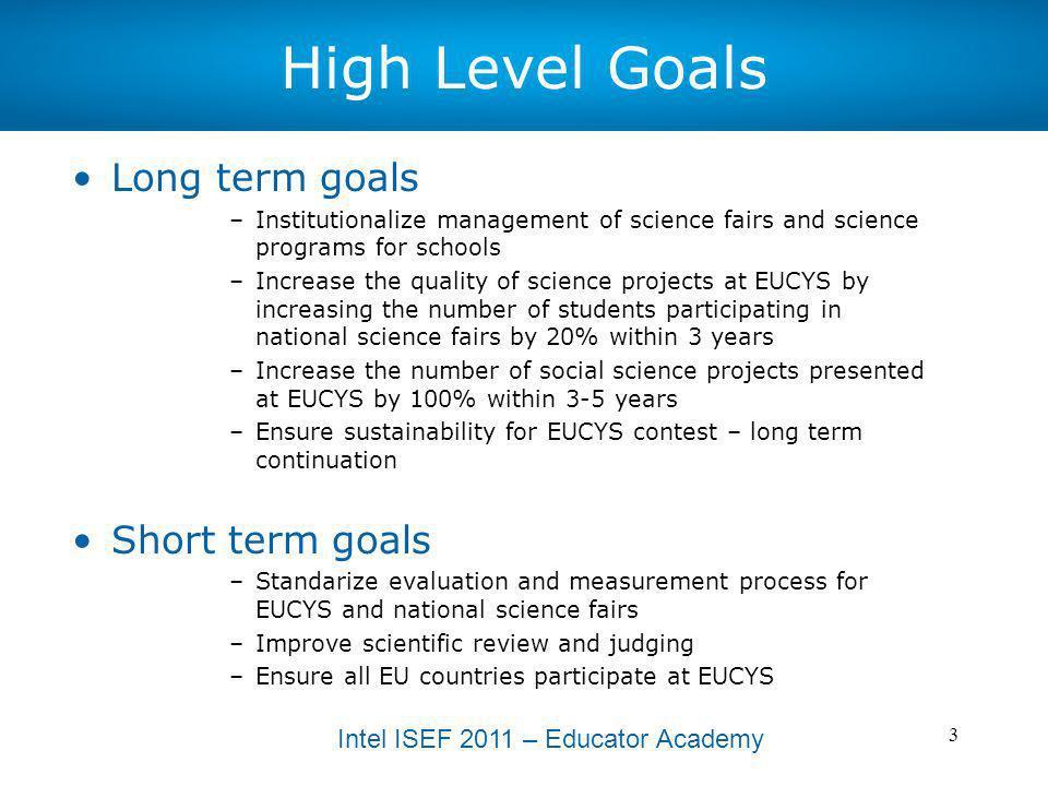 High Level Goals Long term goals Short term goals