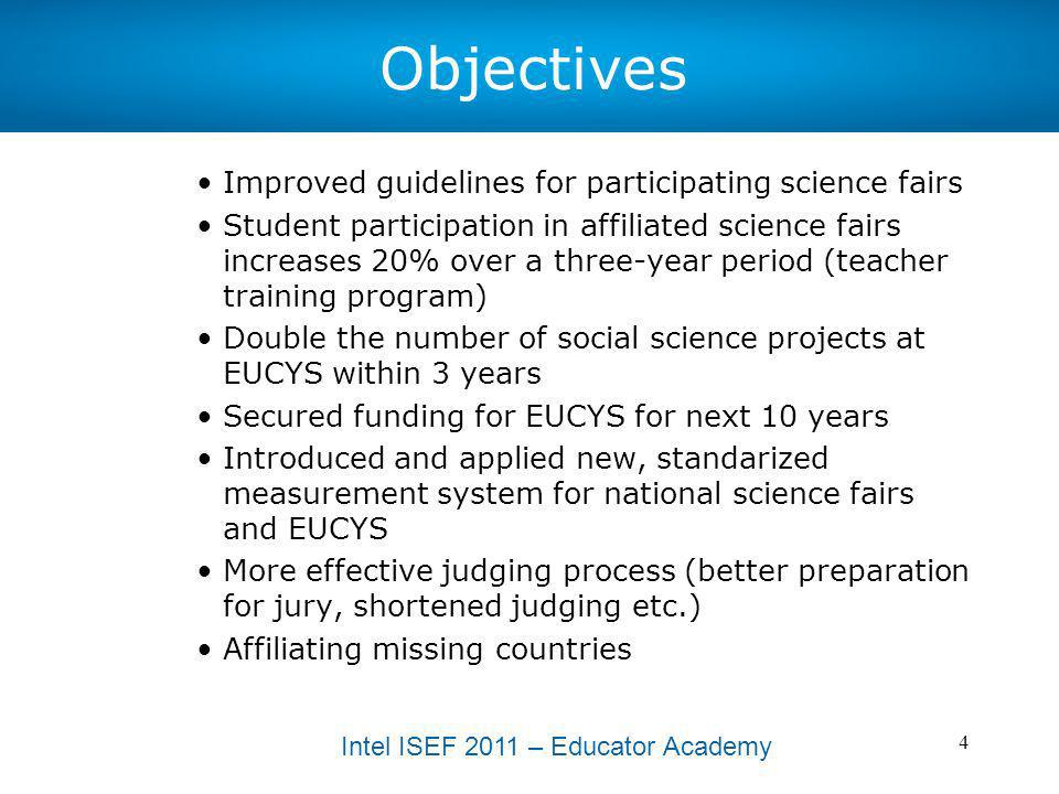 Objectives Improved guidelines for participating science fairs