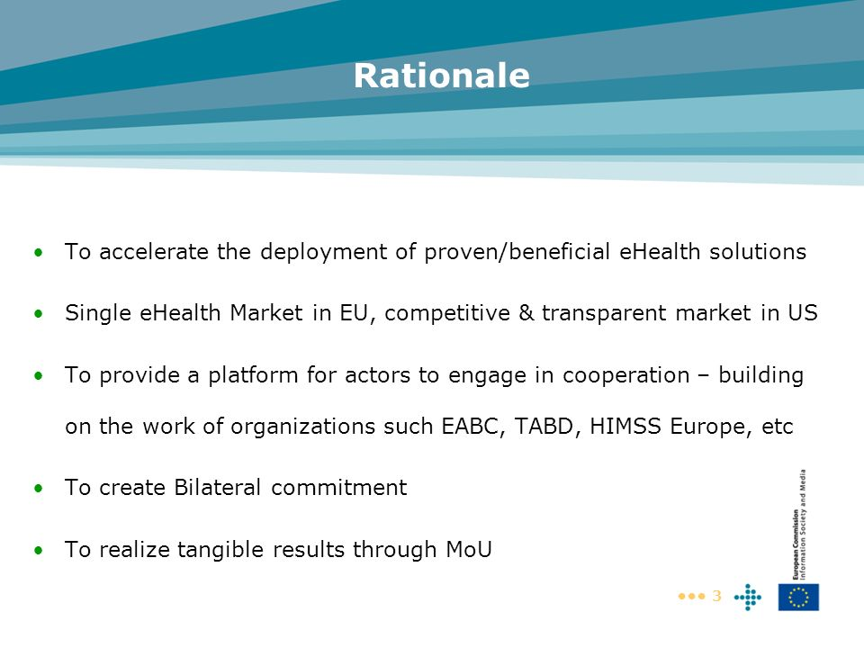 Rationale To accelerate the deployment of proven/beneficial eHealth solutions. Single eHealth Market in EU, competitive & transparent market in US.
