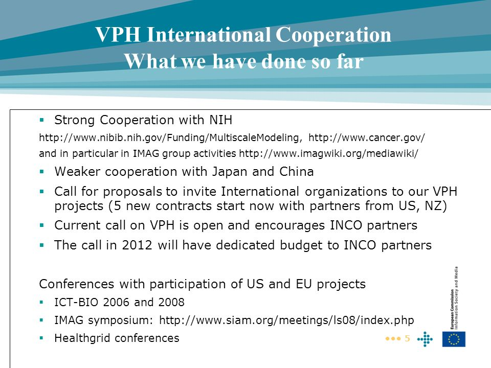 VPH International Cooperation What we have done so far