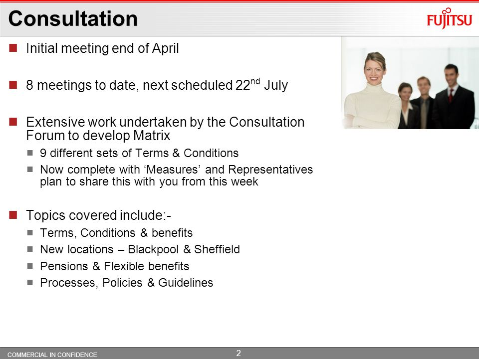 Consultation Initial meeting end of April