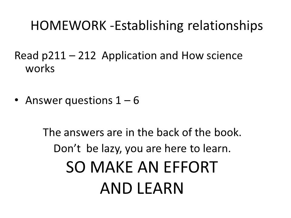 HOMEWORK -Establishing relationships