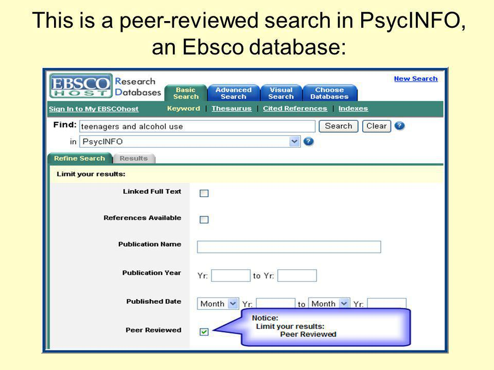 This is a peer-reviewed search in PsycINFO, an Ebsco database: