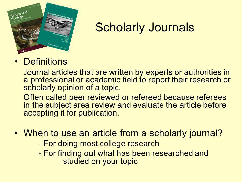 Scholarly Journals Definitions