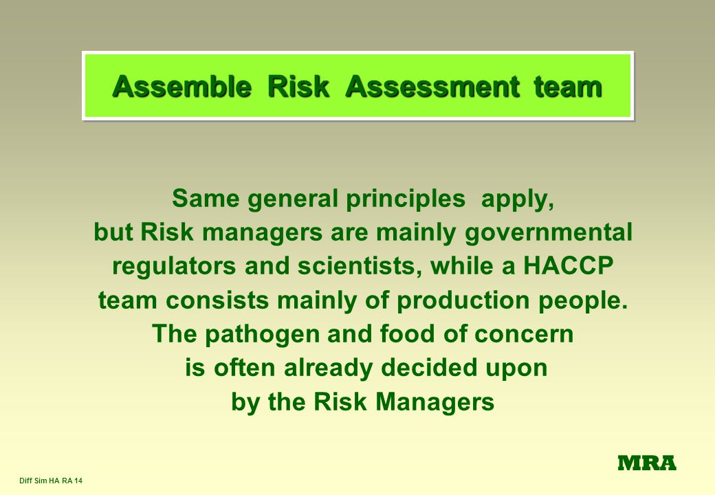 Assemble Risk Assessment team