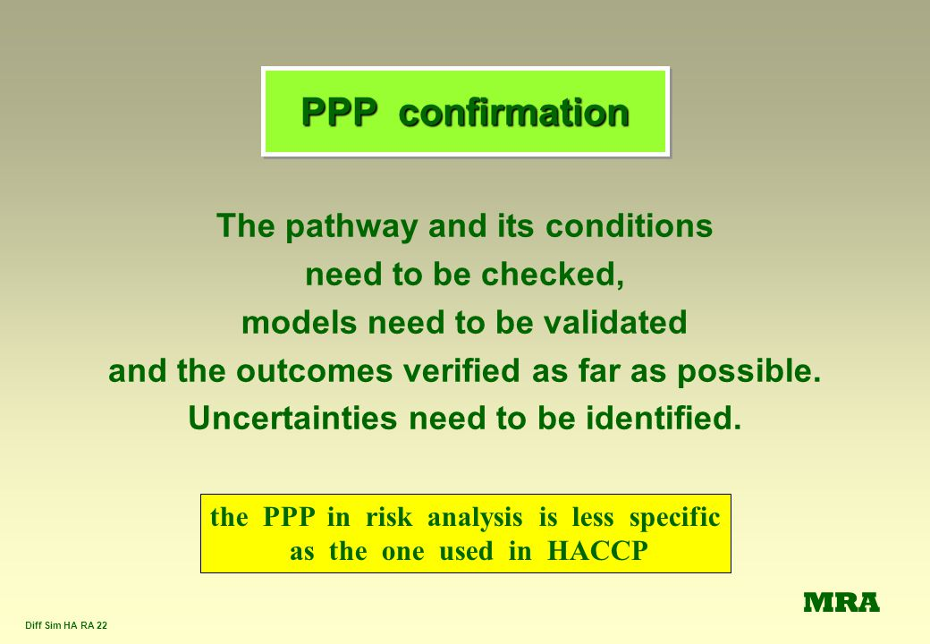 PPP confirmation The pathway and its conditions need to be checked,