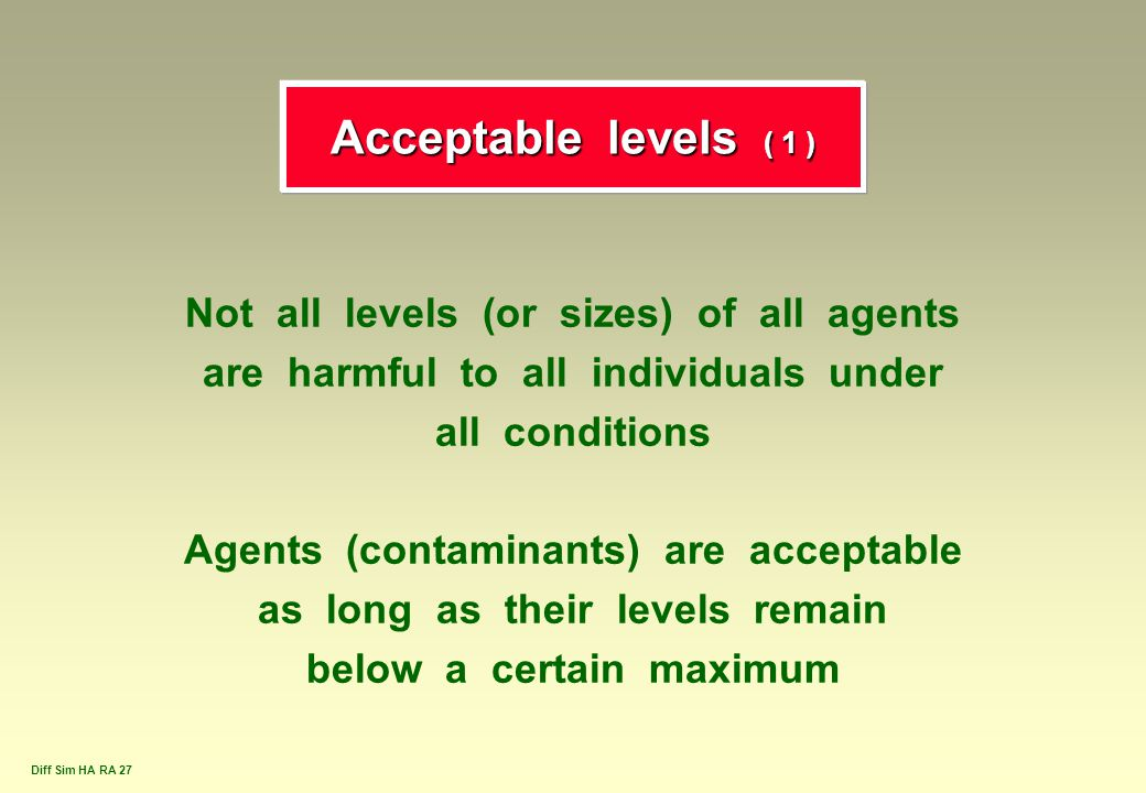 Acceptable levels ( 1 ) Not all levels (or sizes) of all agents