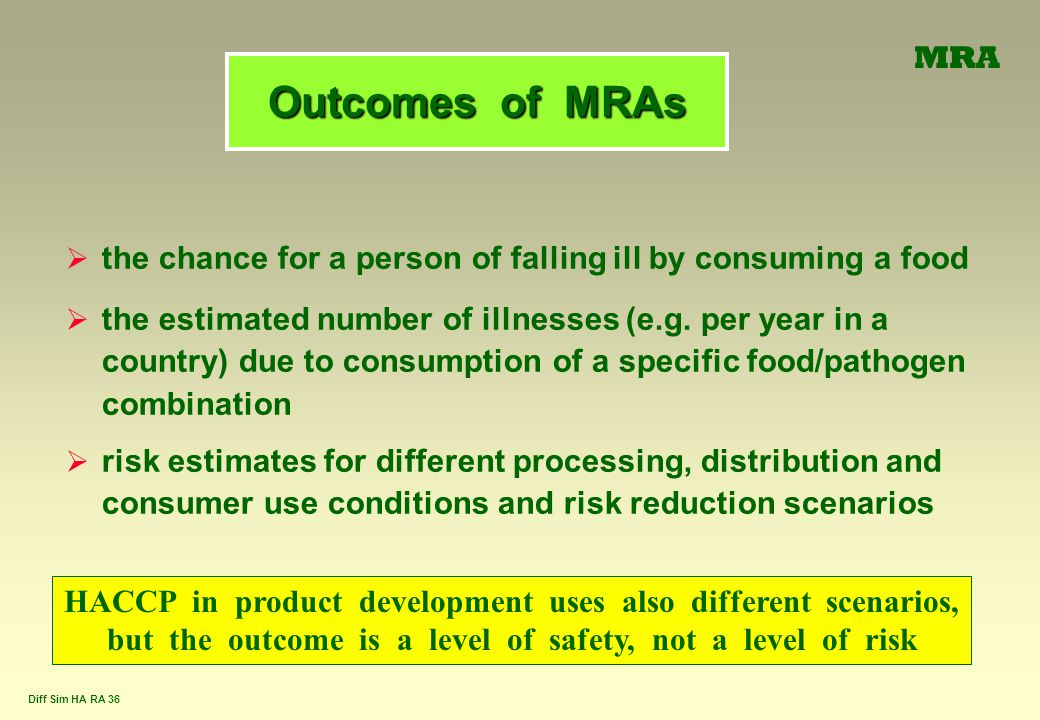 MRA Outcomes of MRAs. the chance for a person of falling ill by consuming a food.