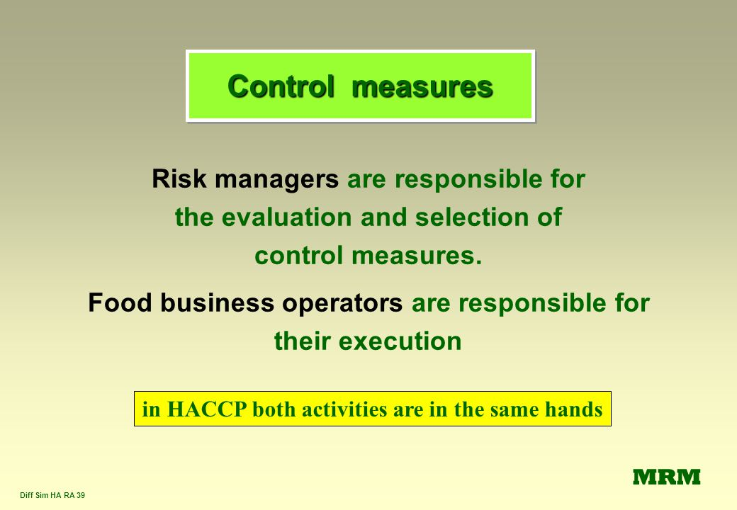 Control measures Risk managers are responsible for