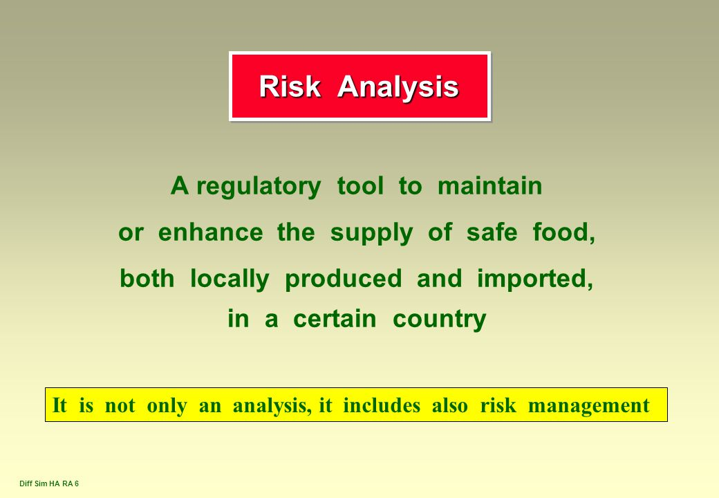 Risk Analysis A regulatory tool to maintain