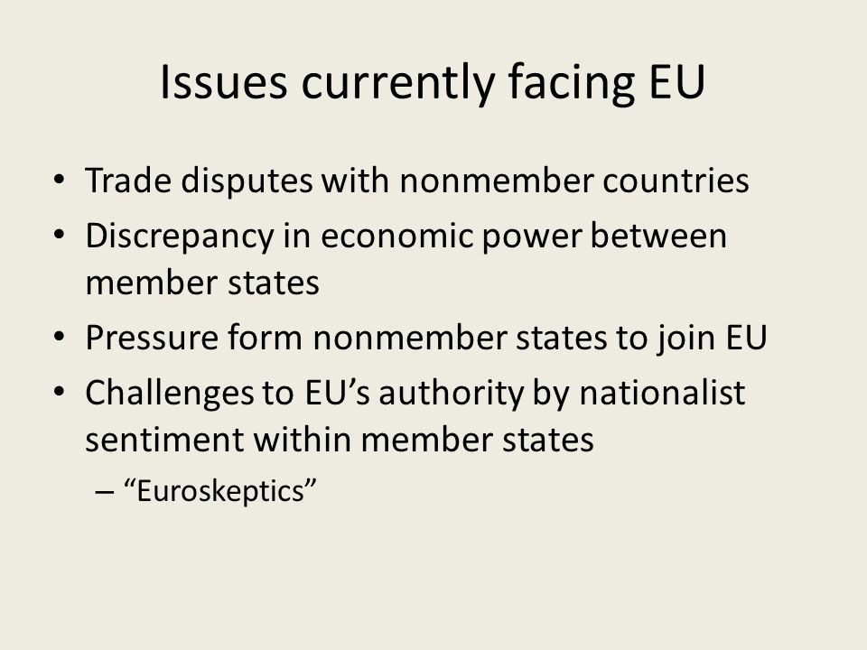 Issues currently facing EU