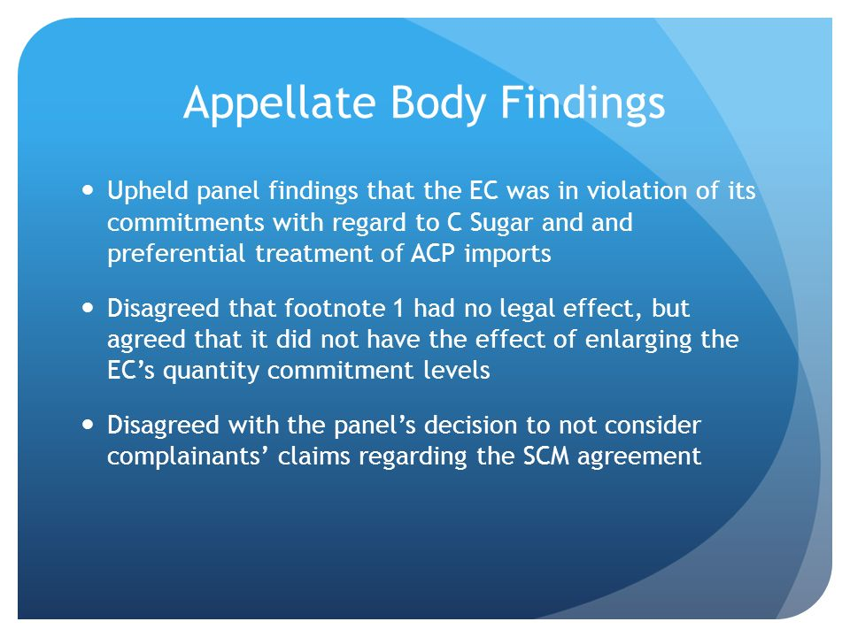 Appellate Body Findings